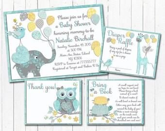 Neutral Baby shower printable invitation set elephant giraffe turtle girl boy digital invite with inserts Diaper Raffle yellow mint