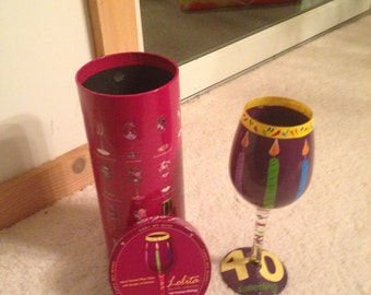 A special gift for a special lady turning fourth. Her own decked out wine glass with original box