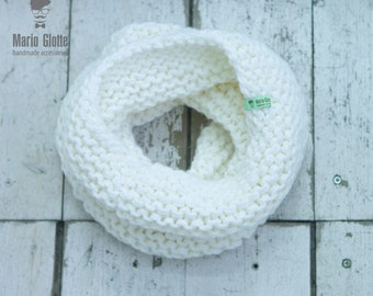 Chunky Cowl Neckwarmer Scarf - Hand Knitted Scarf - White