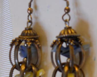 Sterling Silver and mother of pearl birdcage earrings
