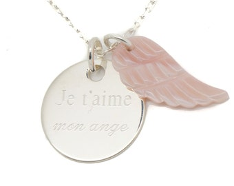 Engraved Medal and customizable angel wing necklace