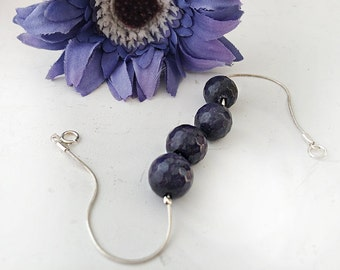 Sterling silver chain bracelet with deep purple agates stones