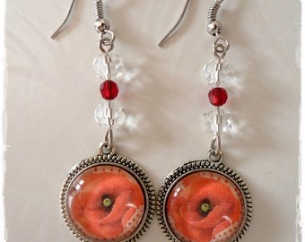 Glass cabochon earrings * poppy * beads red Swarovski and transparent glass beads