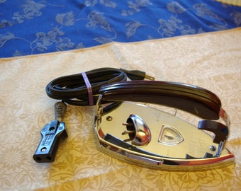 Vintage K-M Gad-A-Bout portable iron  with cord, Deco period design