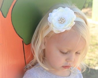 Baby girl petal flower head band with pearls, Thanksgiving/Fall/Christmas/Baptism/Birthday