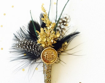 Black and Gold glitter and feather boutonniere for homecoming, prom, dances, or weddings