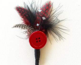 Vintage inspired black and red feather boutonniere for homecoming, prom or weddings!
