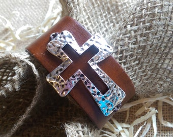 Cross Leather Cuff Bracelet