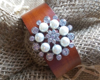 Rhinestone and Faux Pearl Leather Cuff Bracelet