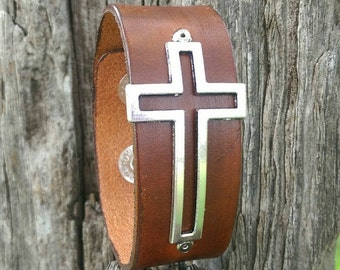 Open Cross Leather Cuff Bracelet in black, brown, turquoise or frusia.