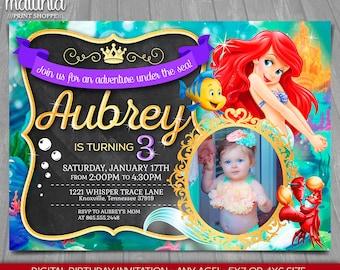 Little Mermaid Invitation - Disney Little Mermaid Invite - Little Mermaid Birthday Invitation - Little Mermaid Birthday Party with photo