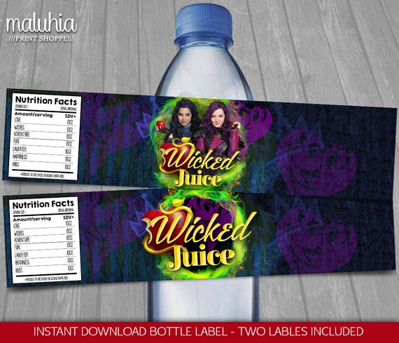 Disney Descendants Water Bottle Labels