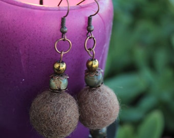 Felt earrings gemstone jewelry