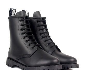 ADIX® Boots black vintage handmade leather gothic underground punk derby ankle boots vegan