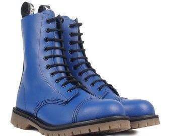 ADIX® Boots blue 10-eyelet steel cap leather handmade grunge underground punk derby military old school