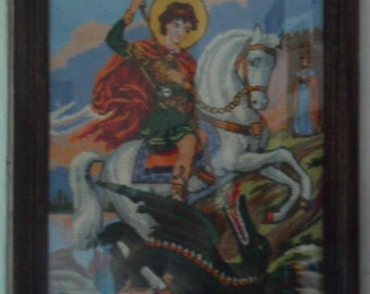Unique Handmade Gobelin Tapestry Saint George dragon  wooden frame glass