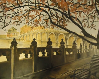 Original Signed Oil Painting: Warm Autumn in China