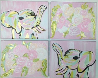 Mary Kate and Ashley-Abstract elephant and flowers