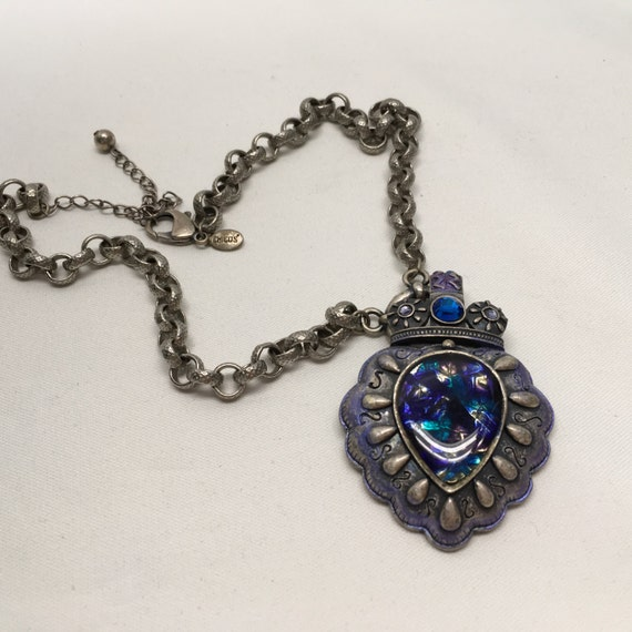 CHICO'S Necklace Silver Blue Vintage Necklace Pendant