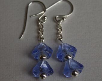 Czech Pressed Glass Dangle Earrings