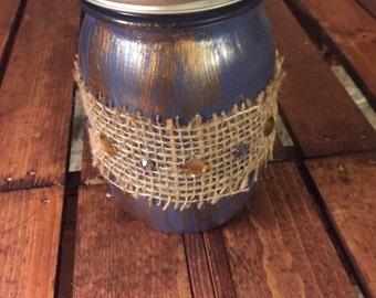 Decorative mason jar-blue and gold