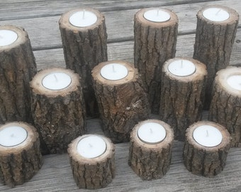 12 Assorted Size Rustic Wooden Candleholders