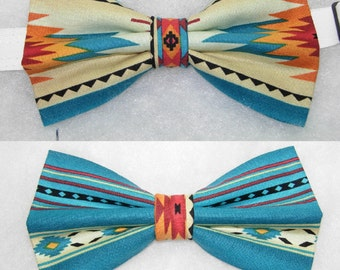 Fire & Water Southwest Indian Blanket Design Handmade Pre-tied Bow Tie