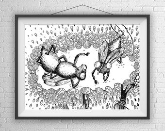 Fly Art Print, Black And White Drawing, Fly on Sunflower, Pen and Ink Illustration, Insect Art Print