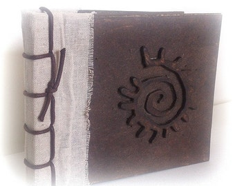 Wooden Sun spiral embossed notebook