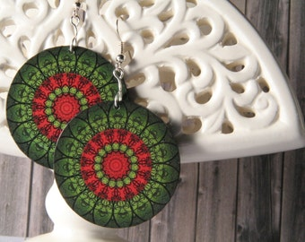 Red & Green Christmas Amazing Mandala Decoupage Earrings, Christmas gift for her. Christmas Earrings