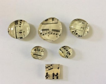 Music sheets glass magnets