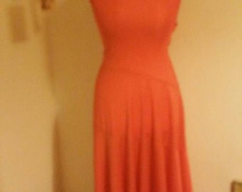 Vintage 1970s red orange maxi dress size 8-10