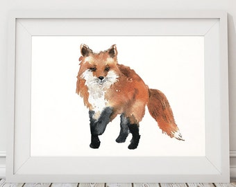 Nursery print Cute fox art Watercolor poster ACW48