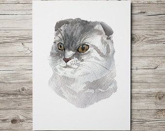 Scottish fold print Watercolor cat poster Cute nursery art ACW53