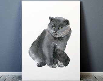 British shorthair print Cute nursery art Cat watercolor ACW61