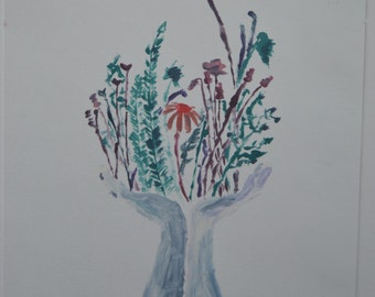 Original, One of a Kind, Monotype of Hands Holding Flowers