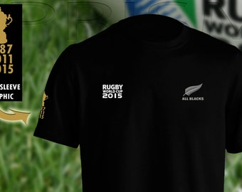 All Blacks t shirt Rugby World Cup 2015 3rd world cup win New Zealand men KiWi