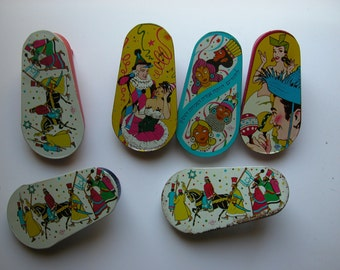 Vintage Tin Noise Makers, Party Favorites Lot of 6