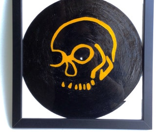 Painted skull on a record