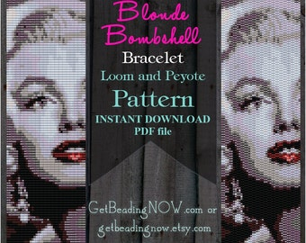 Blond Bombshell Marilyn Loom Beading Patterns, Peyote Beading Patterns, Seed Bead Bracelet template