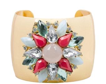 Statement Floral Jewel Cuff Bangle