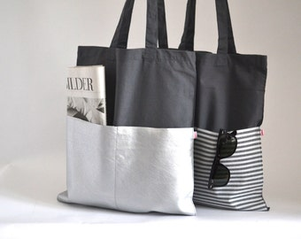 Jute Bag | Cotton bag | Shopper | Grey Bag | Silver
