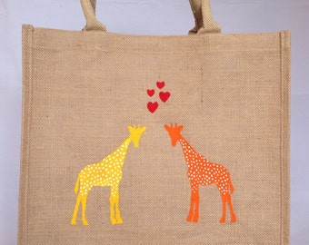 Giraffe reusable shopping bag-  Large. Hand painted jute carrier bag. Burlap gift bag, Valentine's Day gift bag, hessian shopping tote bag