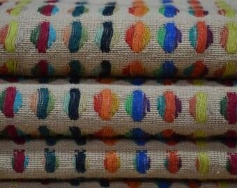 Cotton linen color dot tribal fabric ethnic fabric half yard