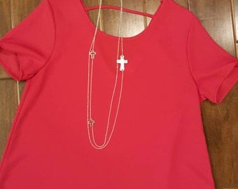 Today Only! Silver Cross Multi -strand chain necklace