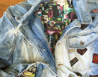 Vintage Worn Jean Jacket patches  made in Italy 80's
