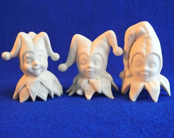 Court jester ornament in choice of three styles -- porcelain bisque ceramic ready to paint