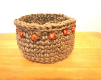 Crocheted Jute Basket