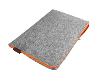 LAPTOP SLEEVE Felt Macbook Cover gray with orange zipper all sizes tablets, macbooks, laptops