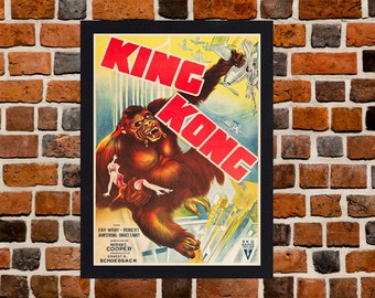 Framed King Kong Movie / Film Poster A3 Size Mounted In Black Or White Frame